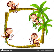 frame design with monkeys on coconut tree stock vector