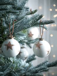 six copper foiled baubles tree decorations