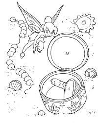 tinkerbell opened musical box coloring free printable