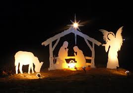 outdoor nativity sets lighted lights card