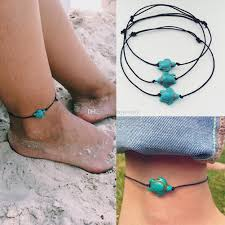 beaded ankle bracelet images 2018 turquoise turtle beads black rope ankle bracelets for women jpg