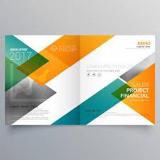 creative business bi fold brochure design template vector free