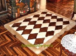 tappeti di pelliccia 71 x 80 white marrone tappeto di alpaca design