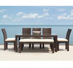 Country Casual Benches Patio Dining Set With Bench 7 Piece Outdoor Table Benches Elegant