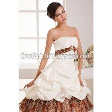strapless leopard patterns ruffled taffeta ball gown wedding dress