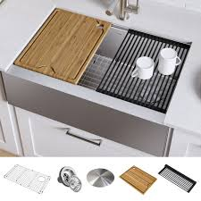 bowl kitchen sink for 30 inch cabinet kraus kwf410 30 kore workstation 30 inch farmhouse flat apron front 16 single bowl stainless steel kitchen sink with accessories pack of 5
