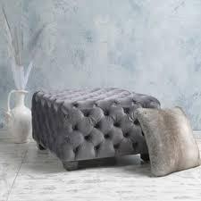 Grey Tufted Ottoman Light Grey Ottomans Wayfair