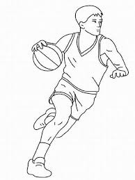 a typical point guard dribble on basketball game colouring page