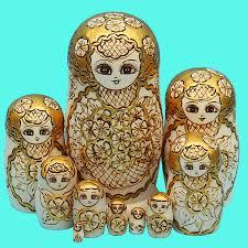 10pcs set wood doll russian nesting dolls golden matryoshka dolls