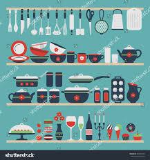 set kitchen utensils food objects on stock vector 234297949