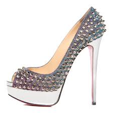 christian louboutin metallic lame satin lady peep spikes 150