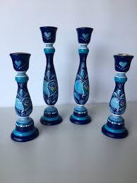 blue hand painted candlesticks wooden candlesticks paisley