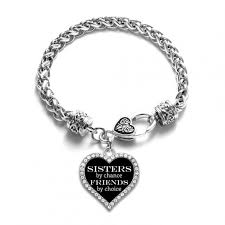 bracelet charm silver images Sisters by chance friends by choice open heart charm bracelet jpg
