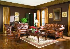 Living Rooms With Brown Leather Furniture Unusual Victorian Style Living Room With Gold Chandelier And Long