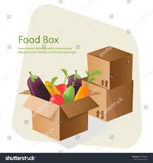 cardboard box freshhealthy vegetables flat style stock vector