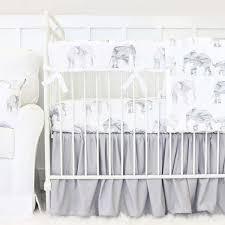 Gray And White Crib Bedding Gray White Marble Elephant Parade Gathered Crib Bedding Caden