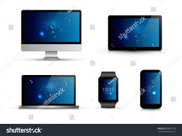 electronic gadgets set realistic electronic gadgets abstract blue stock vector
