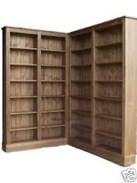 l shaped bookshelves corner bookcase 6ft 8 tall waxed display