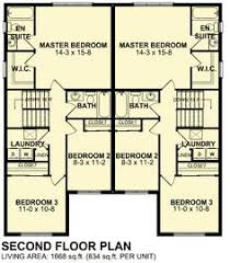Duplex House Plans For Narrow Lots Upper Floor Plan For D 599 Duplex House Plans 2 Story Duplex