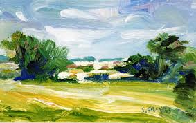 Impressionist Landscape Painting by Darfield From Wombwell Cu Impressionist Landscape Painting In