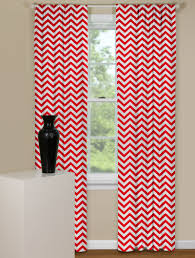 chevron style curtain panel in red and white