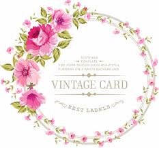 vintage cards pink flowers with vintage cards vectors 01 welovesolo