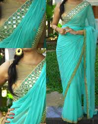 turquoise blouse buy turquoise embroidered georgette saree with blouse