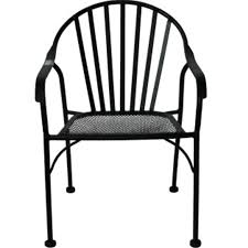 Black Rod Iron Patio Furniture Black Wrought Iron Slat Patio Chair At Home At Home