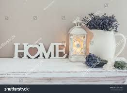 shabby chic interior decor farmhouse lavender stock photo