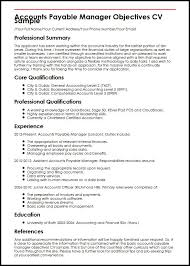Objective In Resume Example by Accounts Payable Manager Objectives Cv Sample Myperfectcv
