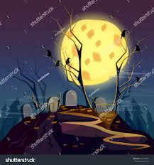 halloween background graveyard night cartoon spooky stock vector