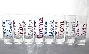 christmas party shot glasses name or message