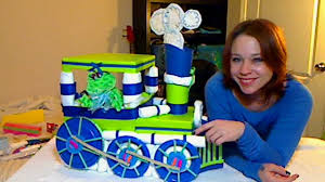 how to make a baby shower diaper train centerpiece youtube