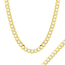 curb chain necklace mens images Men 39 s 5 7mm diamond cut curb chain necklace in 14k two tone gold jpg