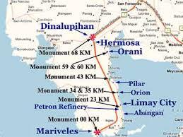bataan death march map