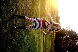 red white striped dress