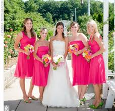 black and hot pink bridesmaid dresses