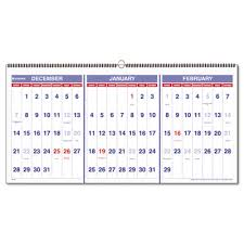 three month wall calendar