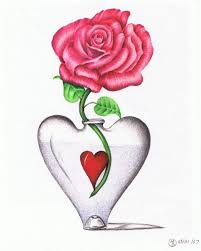 heart and roses drawings
