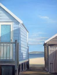 beach huts painting