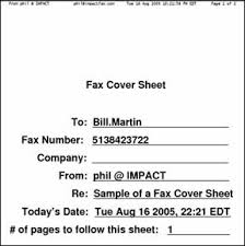 fax cover page format