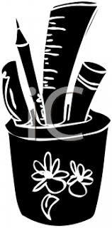 black and white school clipart
