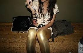 gold shiny leggings