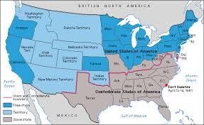 map of the american civil war