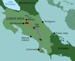 costa rica volcanoes map