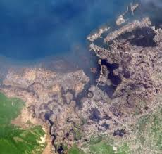 satellite view of tsunami