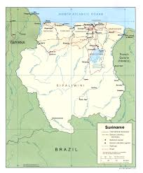 physical map of suriname
