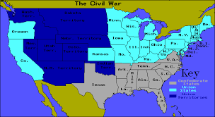 map of the us during the civil war