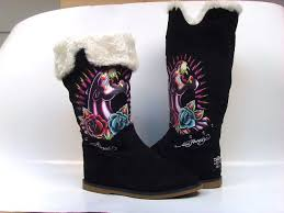 black ed hardy boots