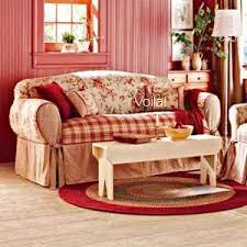 red plaid sofas